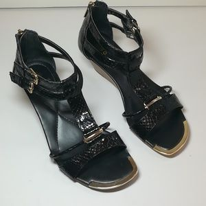 Isola size 7 Black Croc Strappy Wedges with Gold